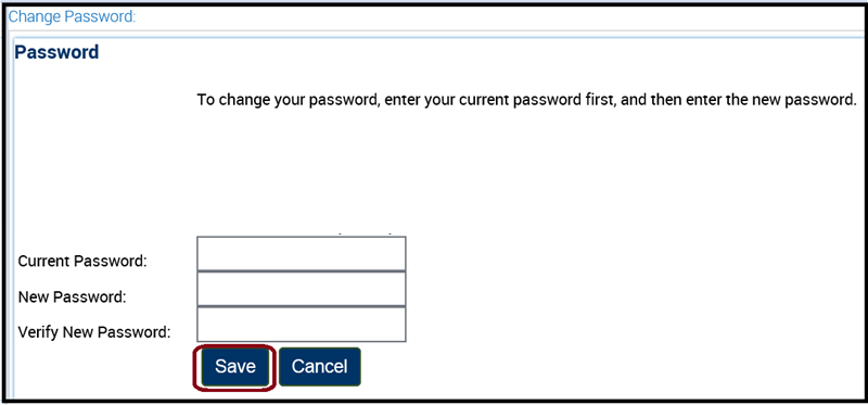 Save button on Change Password page.