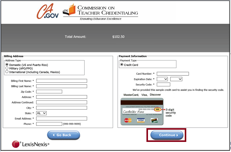Payment billing information