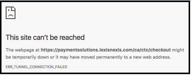 Payment site cant be reached
