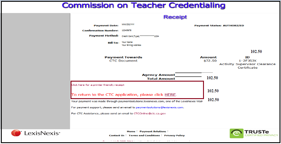 ctc online - written instructions for application and payment