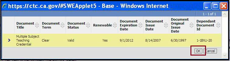 Select Base credential window