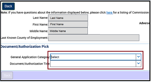 Pick an Application Category and Authorization Type