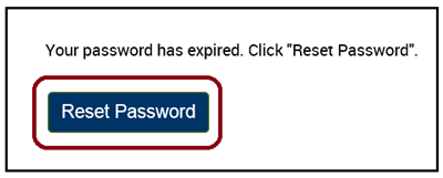Expired Password page with Reset Password button.