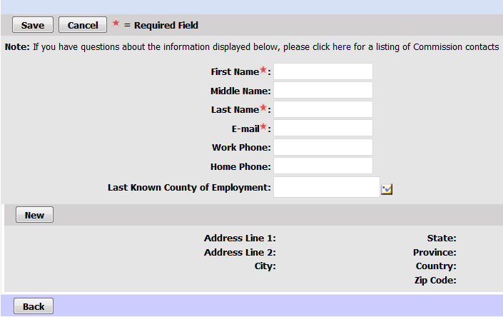 CTC Online blank personal information form